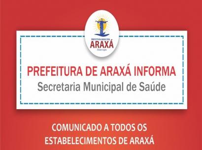 Comunicado a todos os estabelecimentos de Araxá